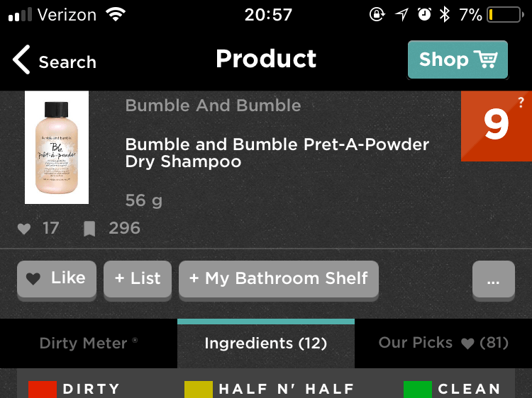 Think Dirty app- Bumble and Bumble dry shampoo