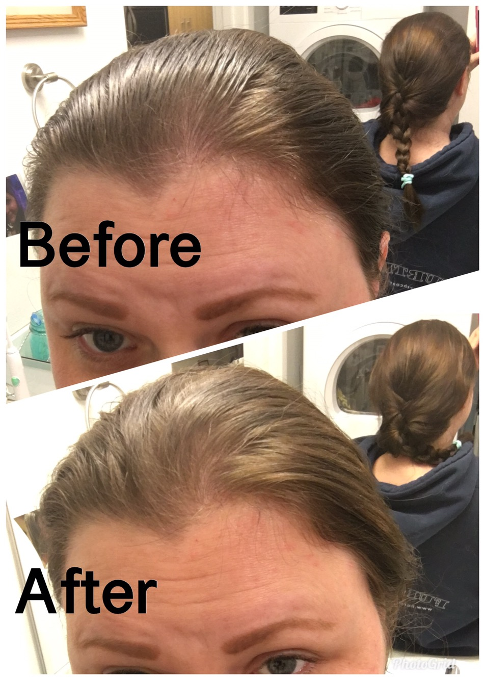 hair before and after dry shampoo