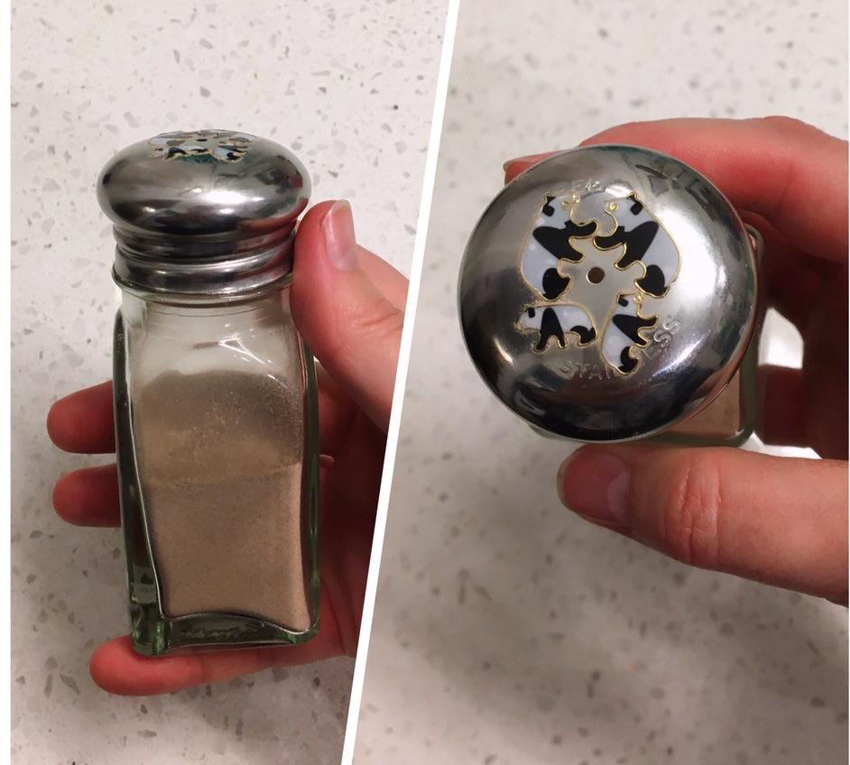 finished dry shampoo, inside salt shaker